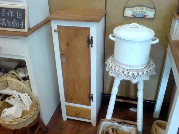 ~Cotton Milk 雜貨散步~ 日本鄉村雜貨---自然風原木白色單門置物櫃(雜誌代表款) (出清特價)