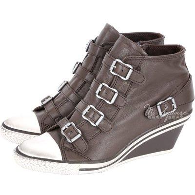 米蘭廣場 ASH GENIAL 經典羊皮釦帶楔型休閒鞋(咖啡色) 1520450-07