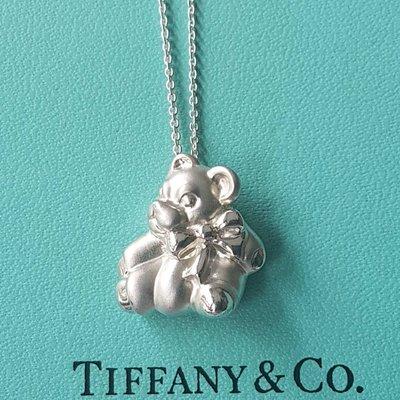 ~時尚與古典的相遇~ 【TIFFANY】真品  純銀 稀少絕版款 綁蝴蝶結小熊 項鍊(已清洗如新)
