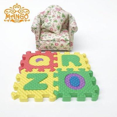 雜貨小鋪 1:12娃娃屋dollhouse迷你DIY模型兒童房配件 泡沫爬爬墊地毯彩色~