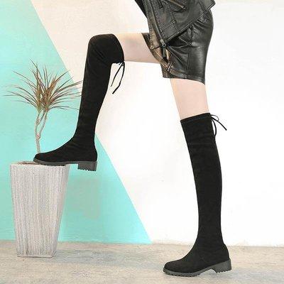 litterluck-韓國專櫃2019新款過膝長靴女冬季平底靴子黑色長筒靴女靴彈力靴5050后系帶