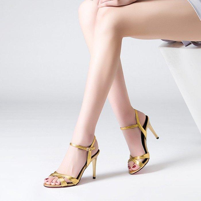 真皮高跟涼鞋女細跟仙女風夏季2020新款綁帶女鞋百搭一字扣帶鞋子  HKA 043