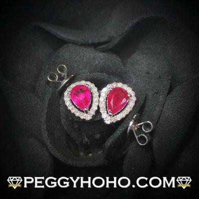 【Peggyhoho】 全新18K白金93份紅寶石配16份美鑽耳環| 矜貴緬甸RUBY | 經典靚款