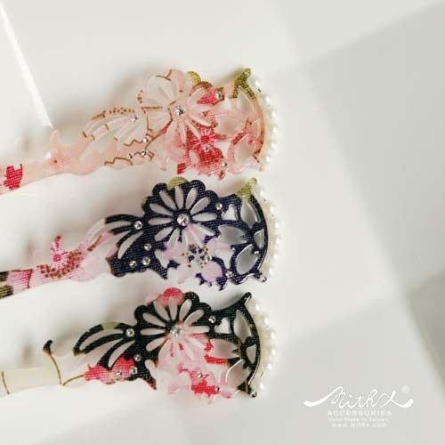【MITHX手創】三色,絢彩櫻,珍珠花彩髮簪,髮插,髮飾