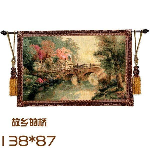 歐式比利時掛毯 田園掛畫 美式鄉村客廳壁毯 故鄉的橋