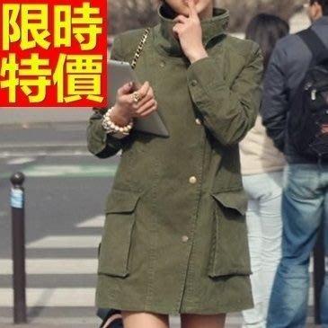 軍裝外套(零碼賠售出清、恕不退換)-防風翻領直筒中長款女大衣64c28[獨家進口][米蘭精品]