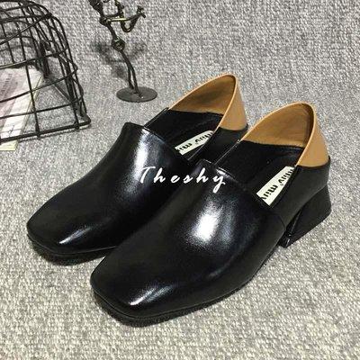 【Theshy】2018春季新款方頭穆勒復古粗跟單鞋休閑皮鞋女可踩腳懶人半拖低跟