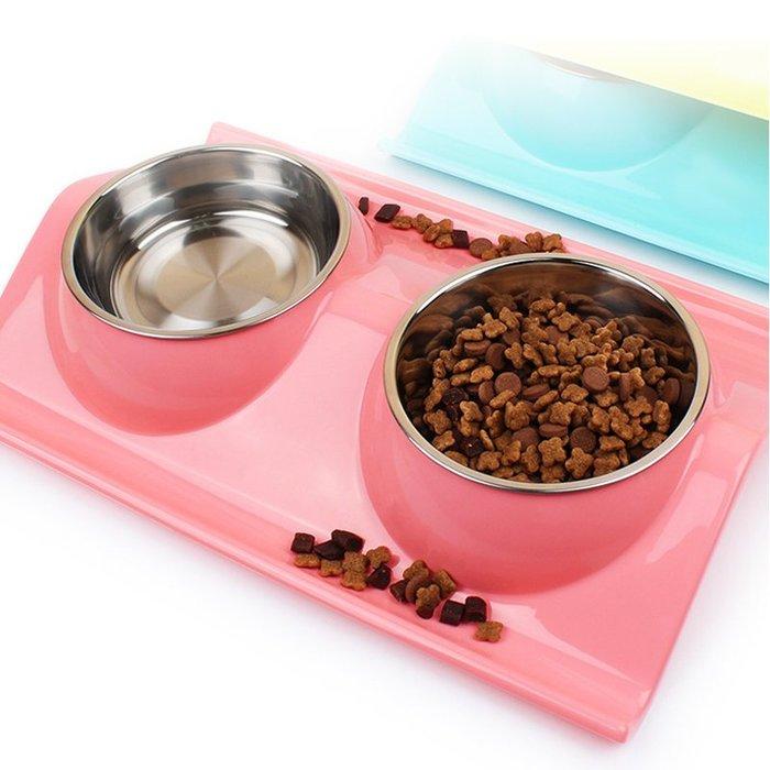 貓碗狗碗寵物用品貓盆狗盆 不銹鋼貓咪飲水器雙碗寵物碗 狗盆