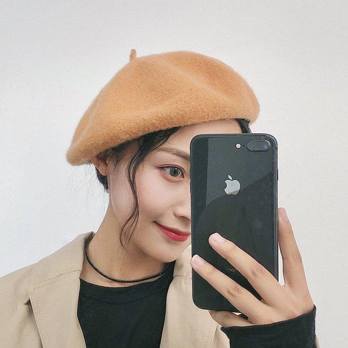 畫家帽 貝雷帽女秋冬季韓版日系百搭英倫羊毛呢黑色蓓蕾畫家帽子冬天休閑