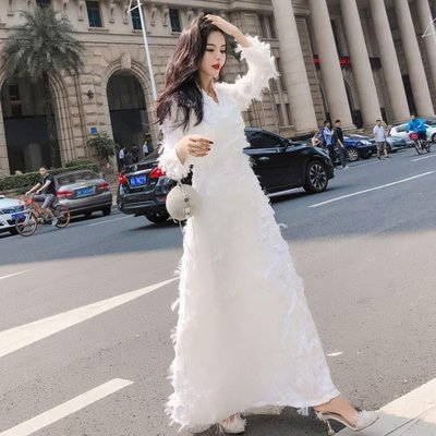 秋裝新款女裝仙氣時尚氣質連衣裙名媛白色禮服溫柔仙女長裙潮洋裝   全館免運