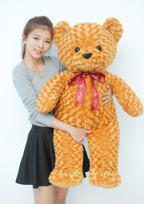 拉小站~超大玫瑰熊娃娃~高100公分~玟瑰泰迪熊玩偶~毛質柔軟~泰迪熊娃娃~最受歡迎玩偶