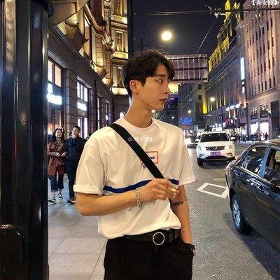 【吉野小鋪】 ESC MAN STUDIO/夏季新品 USELESS無用 中文印花海軍藍條短袖T恤衫S6A86