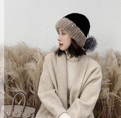 水貂毛編織配狐狸毛大球皮草帽子女冬季保暖護耳加厚新款甜美可愛