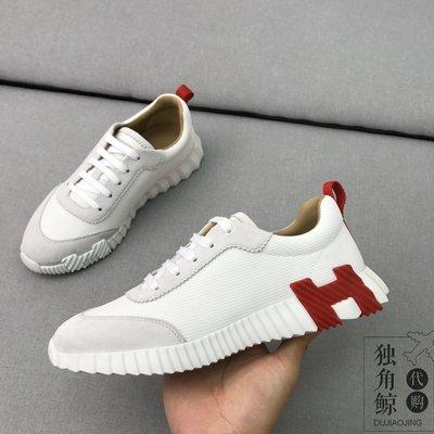 Hermes\/愛馬仕新款H字母低幫男士運動鞋網布拼接休閑鞋跑步鞋平底
