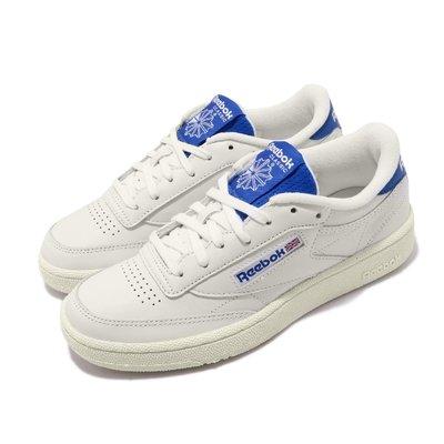 =CodE= REEBOK CLASSIC CLUB C 85 MU 皮革休閒鞋(米白藍) EF3252 復古 男女