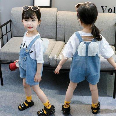 有家服飾兒童牛仔背帶褲女夏裝女童正韓洋氣小童寬松休閒短褲時尚寶寶薄款