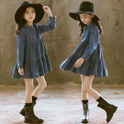 秋裝新款女童長袖連身裙深藍色中長款蓬蓬公主裙韓版牛仔洋裝時尚潮 DR29805【全場免運】