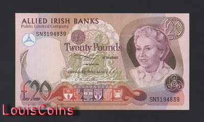 【Louis Coins】B1665-NORTHERN IRELAND-1987北愛爾蘭紙幣,20 Pounds