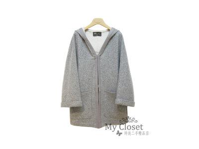 My Closet 二手名牌 Loro Piana 灰色Cashmere 鑲灰色小羊皮革邊 雙口袋 小寬袖連帽外套