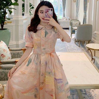 時尚女裙  新款高腰短袖復古吊帶仙女a字裙子少女小清新娃娃領連衣裙夏