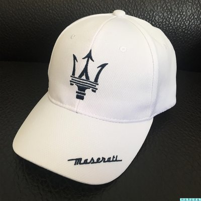 阿拉多-Maserati 瑪莎拉蒂 F1賽車帽 繡花棒球帽 鴨舌帽 網眼帽子 遮陽帽(白色)
