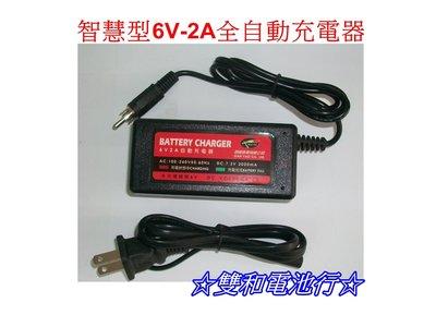 ☆雙和電池☆智慧型6V 2A 鉛酸電池全自動充電器,各式6V密閉式電池、玩具車電池