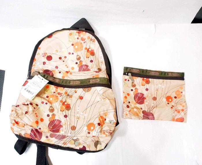 全新,LeSportSac 後背包+雜物包 / 橘色款 /2件一起賣