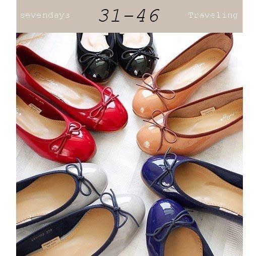 大尺碼女鞋小尺碼女鞋圓頭漆皮經典芭蕾舞鞋蝴蝶結娃娃鞋包鞋平底鞋工作鞋黑色紅色藍色灰色棕色(31-46加大尺寸)現貨