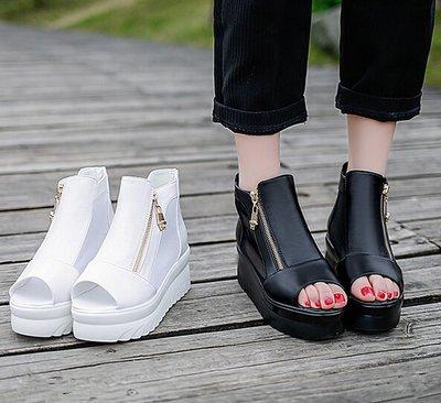 夏季魚嘴羅馬鞋厚底松糕跟涼鞋女士時尚網紗鞋女鞋高跟鞋女坡跟鞋,非娃娃鞋,非木屐鞋,非靴子