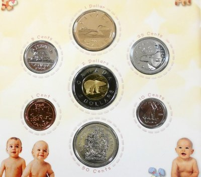 JC052 加拿大2004年誕生1 Cent~2 Dollar 共7枚精鑄套幣說明書