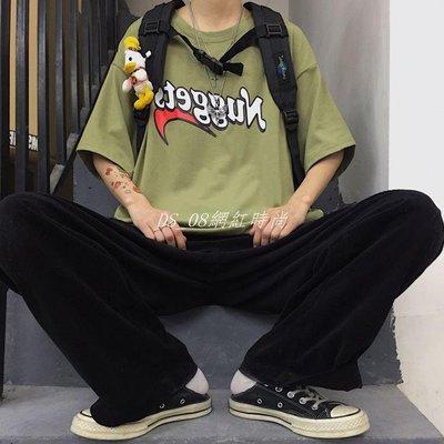 DS_08網紅時尚短袖女2019新款韓國ins原宿風復古字母印花bf寬松學生情侶上衣潮