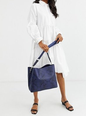 藍色蛇紋休閒側背包