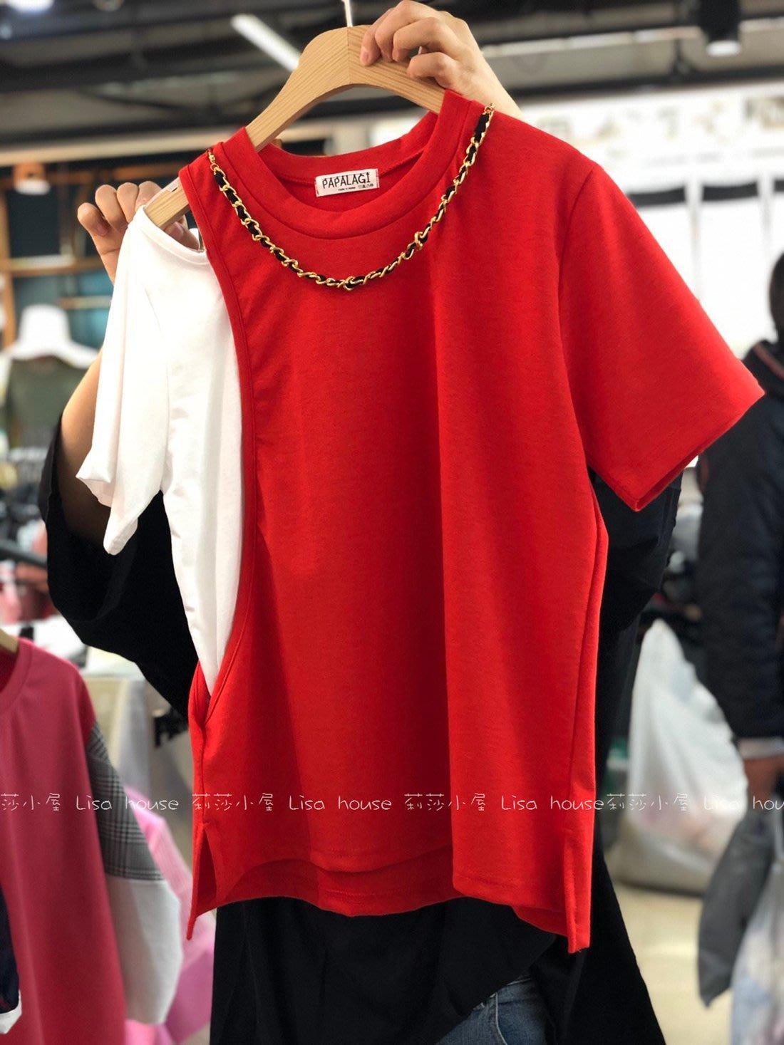 韓國連線代購(首爾)~春夏新品-鍊可拆配色造型上衣(現貨 紅色)【莉莎小屋】正韓 韓國空運 E190320