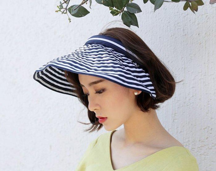 (台灣現貨)韓版寬簷條紋空頂遮陽帽(M8635)