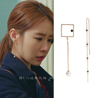 【韓Lin代購】韓國 GET ME BLIN-明星同款抗敏925銀針耳環UNBALANCE BLACK CZ LONG