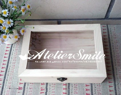 [ Atelier Smile ] 鄉村雜貨 全手工桐木盒玻璃蓋收納箱 收納盒 小款 (現+預)