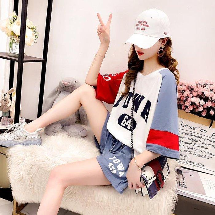 天天本鋪 小清新網紅運動風T恤套裝女2019夏裝超火CEC短袖上衣短褲兩件套潮BN108