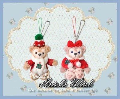 Ariel's Wish日本東京迪士尼Duffy達菲熊Shelliemay雪莉玫聖誕節耶誕紅色斗篷款坐姿手機吊飾-絕版款