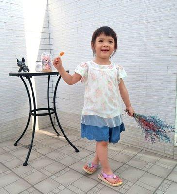 Pupil House花瓣網紗造型T恤&牛仔褲裙