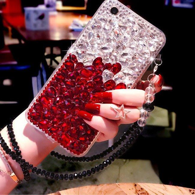 iPhone 11 pro XS Max XR X 8 7 6s Plus手機殼 水鑽寶石 漸變寶石 全包軟殼 水晶掛繩