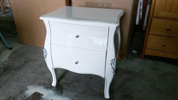 美生活館---新古典凡賽斯鋼烤亮白雕刻描銀雙抽櫃/茶几/床頭櫃/角落櫃--客訂款也可烤黑