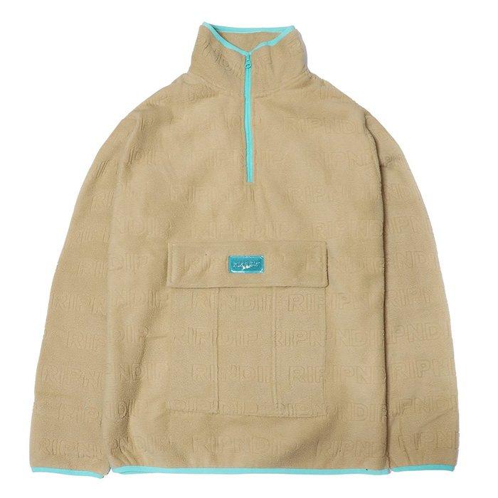 【QUEST】Repeat Brushed Fleece Half Zip Sweater 中指貓