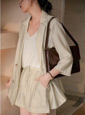 韓兩件式套裝 (AC971322) 實拍質感超好天絲翻領純色西裝外套+闊腿褲 兩件式套裝 S-XL 有2色