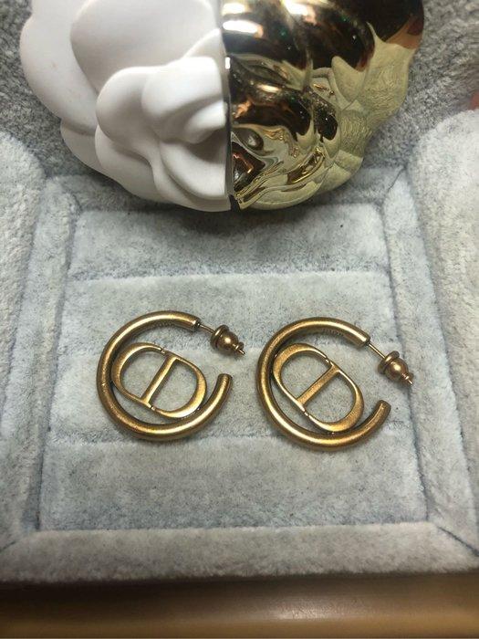 DIOR 經典 二手 古銅金 復古 C圈 logo 耳環