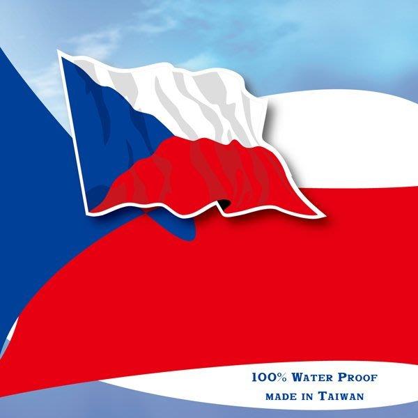 【衝浪小胖】捷克國旗飄揚登機箱貼紙/抗UV防水/Czech/多國款可收集和客製