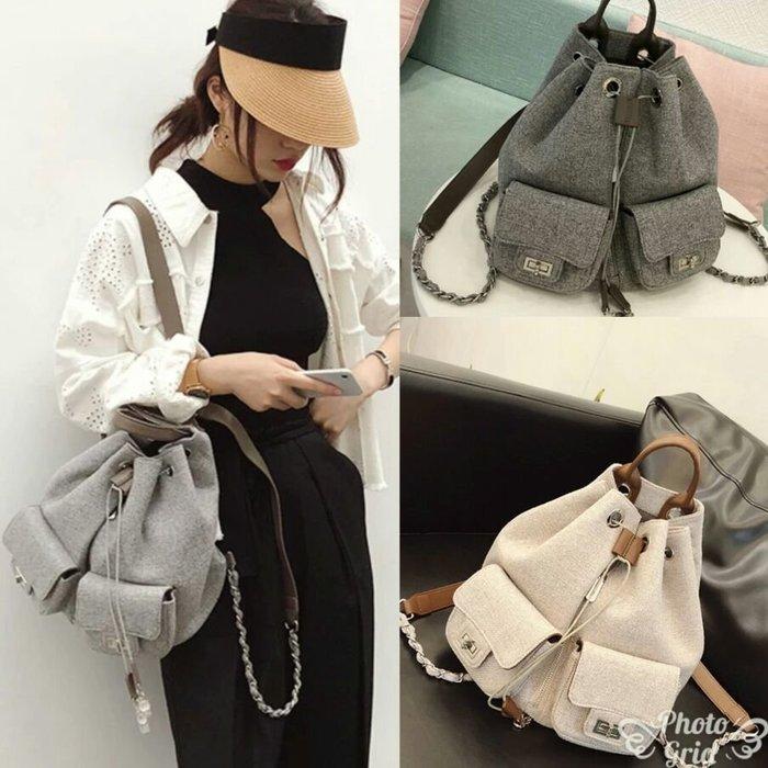 韓國空運小香風棉麻帆布厚背包
