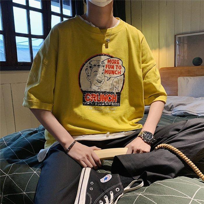 吉部 實拍 2019夏裝新款 寬鬆創意人物印花T恤現貨 免運