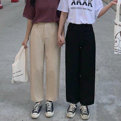 西裝褲女學生韓版寬松直筒ulzzang黑色復古港風chic褲子港味高腰