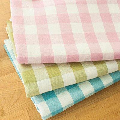 戀物星球 日韓田園格子窗簾桌布沙發布料野餐加厚純棉掛布麻布抱枕麻布