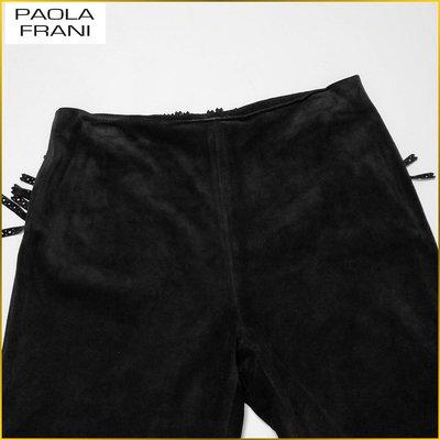 義大利品牌✈️PAOLA FRANI 義大利製 真皮 皮褲 牛革絨面皮褲 阿美咔嘰 時尚皮褲 日本女裝L号 A6212P